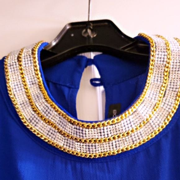 Moa Moa Tops - Royal blue studded collar blouse